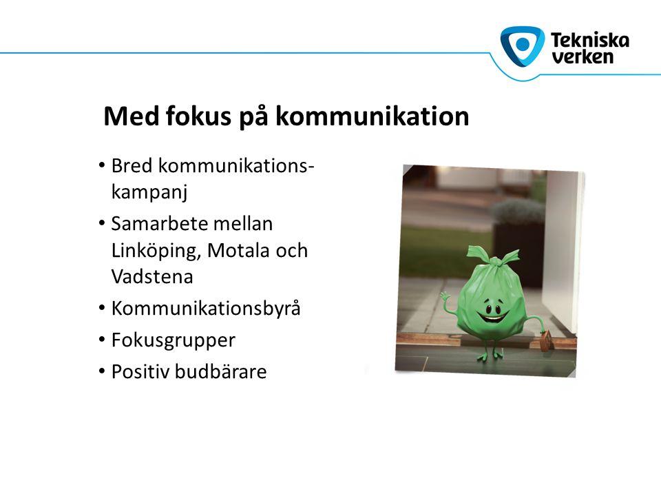 Med fokus på kommunikation Bred kommunikations- kampanj Samarbete mellan Linköping, Motala och Vadstena Kommunikationsbyrå Fokusgrupper Positiv budbär