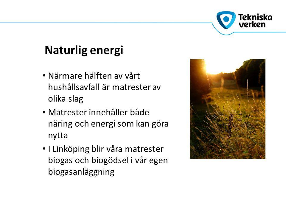 Naturlig energi Närmare hälften av vårt hushållsavfall är matrester av olika slag Matrester innehåller både näring och energi som kan göra nytta I Lin