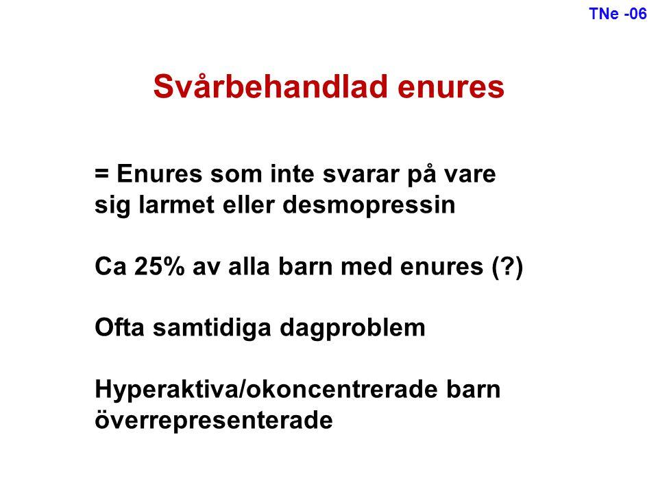 Svårbehandlad enures = Enures som inte svarar på vare sig larmet eller desmopressin Ca 25% av alla barn med enures (?) Ofta samtidiga dagproblem Hyper