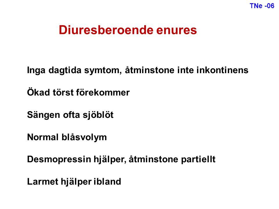 Ofta dagtida symtom, åtminstone urgency Ofta vått flera gånger per natt Liten blåsvolym Desmopressin hjälper inte, åtminstone inte ensamt Larmet hjälper ofta Antikolinergika hjälper ibland Koppling till förstoppning Detrusorberoende enures TNe -06