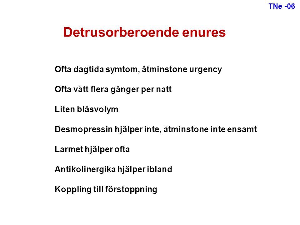 Utredning vid enures Anamnes Kissvanor, avföringsvanor, inkontinens, törst, sömndjup Status Extremitetsreflexer, genitalia (fimos?), ryggslut (spina bifida?) Prover Urinsticka (diabetes.