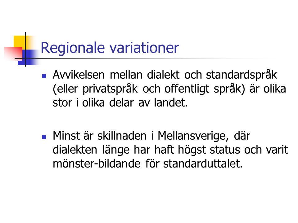 Särpräglade (och därför motstånds- kraftiga) dialekter Dalarna, framför allt i området norr om sjön Siljan Västra Jämtland Norra Nordland Gotland