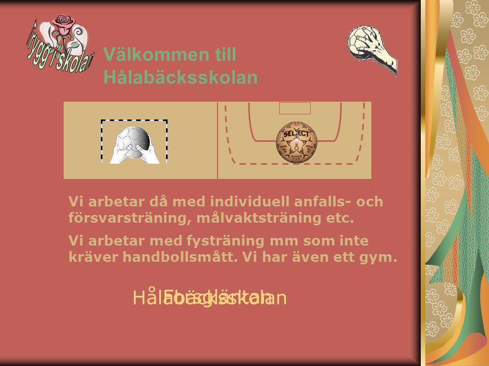 Välkommen till Hålabäcksskolan Forsgläntan Hålabäcksskolan Vi arbetar då med individuell anfalls- och försvarsträning, målvaktsträning etc.