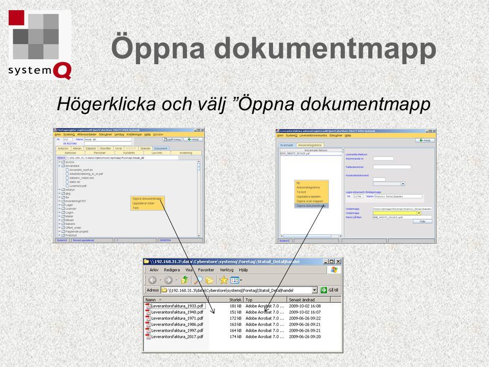 """Öppna dokumentmapp Högerklicka och välj """"Öppna dokumentmapp"""