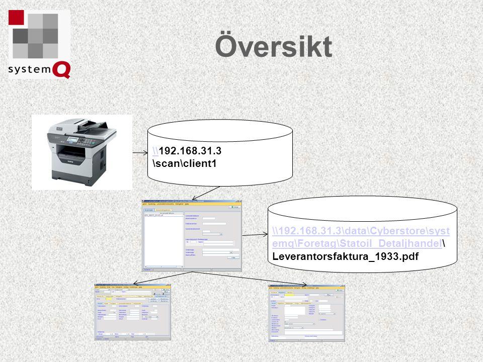 Översikt \\\\192.168.31.3 \scan\client1 \\192.168.31.3\data\Cyberstore\syst emq\Foretag\Statoil_Detaljhandel\\192.168.31.3\data\Cyberstore\syst emq\Fo