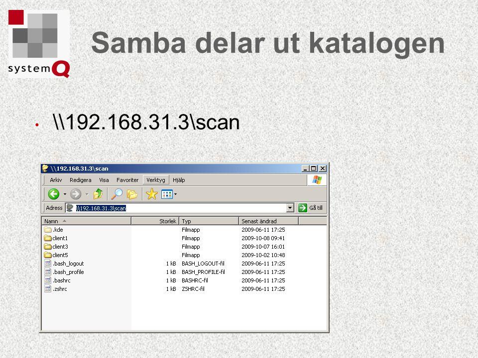 Samba delar ut katalogen \\192.168.31.3\scan