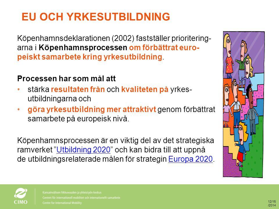 EU OCH YRKESUTBILDNING Köpenhamnsdeklarationen (2002) fastställer prioritering- arna i Köpenhamnsprocessen om förbättrat euro- peiskt samarbete kring yrkesutbildning.