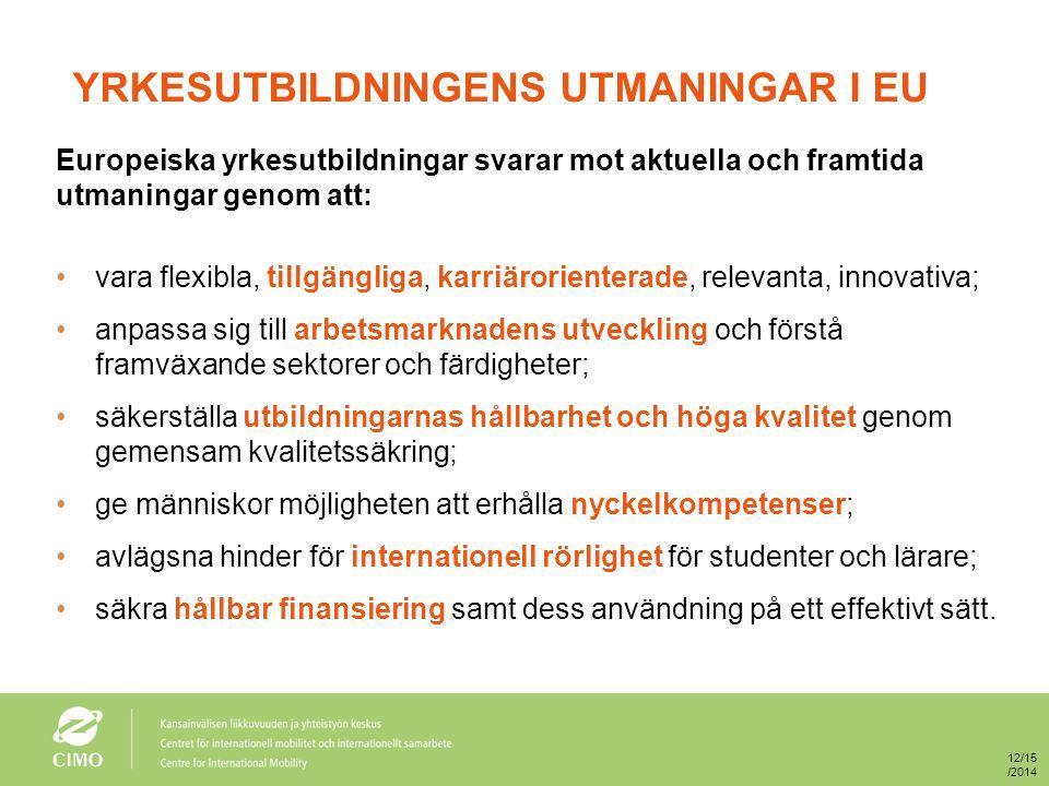 YRKESUTBILDNINGENS UTMANINGAR I EU Europeiska yrkesutbildningar svarar mot aktuella och framtida utmaningar genom att: vara flexibla, tillgängliga, karriärorienterade, relevanta, innovativa; anpassa sig till arbetsmarknadens utveckling och förstå framväxande sektorer och färdigheter; säkerställa utbildningarnas hållbarhet och höga kvalitet genom gemensam kvalitetssäkring; ge människor möjligheten att erhålla nyckelkompetenser; avlägsna hinder för internationell rörlighet för studenter och lärare; säkra hållbar finansiering samt dess användning på ett effektivt sätt.