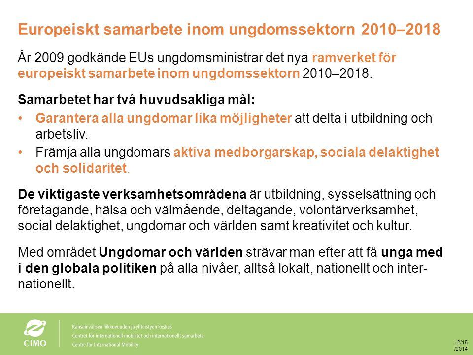 Europeiskt samarbete inom ungdomssektorn 2010–2018 År 2009 godkände EUs ungdomsministrar det nya ramverket för europeiskt samarbete inom ungdomssektorn 2010–2018.