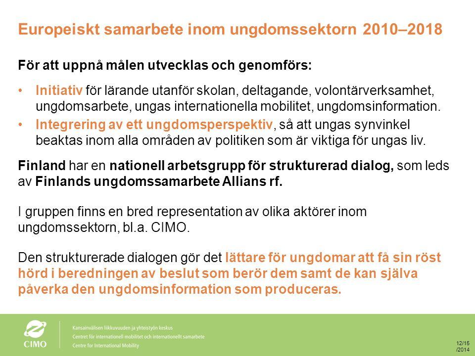 Europeiskt samarbete inom ungdomssektorn 2010–2018 För att uppnå målen utvecklas och genomförs: Initiativ för lärande utanför skolan, deltagande, volontärverksamhet, ungdomsarbete, ungas internationella mobilitet, ungdomsinformation.