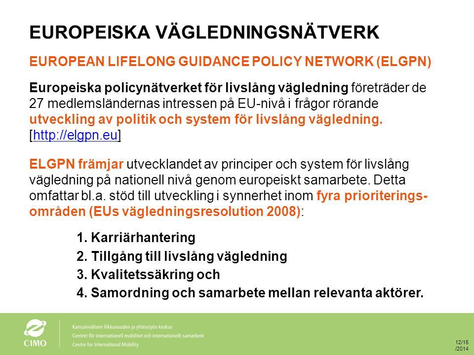 EUROPEISKA VÄGLEDNINGSNÄTVERK EUROPEAN LIFELONG GUIDANCE POLICY NETWORK (ELGPN) Europeiska policynätverket för livslång vägledning företräder de 27 medlemsländernas intressen på EU-nivå i frågor rörande utveckling av politik och system för livslång vägledning.