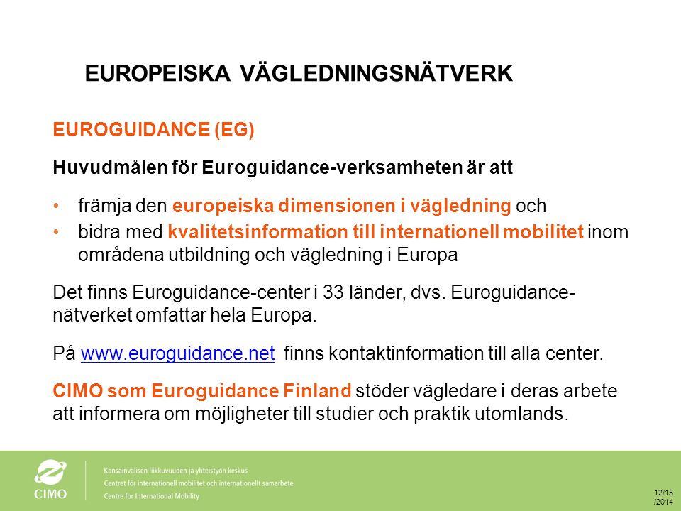 EUROPEISKA VÄGLEDNINGSNÄTVERK EUROGUIDANCE (EG) Huvudmålen för Euroguidance-verksamheten är att främja den europeiska dimensionen i vägledning och bidra med kvalitetsinformation till internationell mobilitet inom områdena utbildning och vägledning i Europa Det finns Euroguidance-center i 33 länder, dvs.