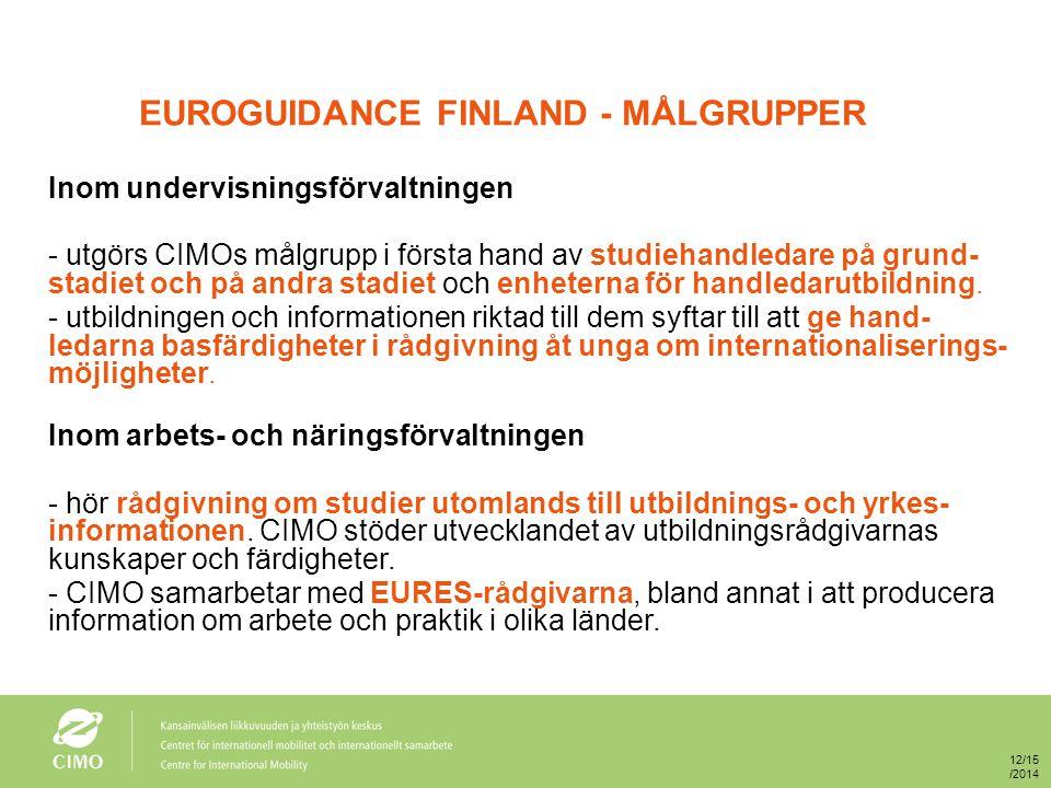 EUROGUIDANCE FINLAND - MÅLGRUPPER Inom undervisningsförvaltningen - utgörs CIMOs målgrupp i första hand av studiehandledare på grund- stadiet och på andra stadiet och enheterna för handledarutbildning.