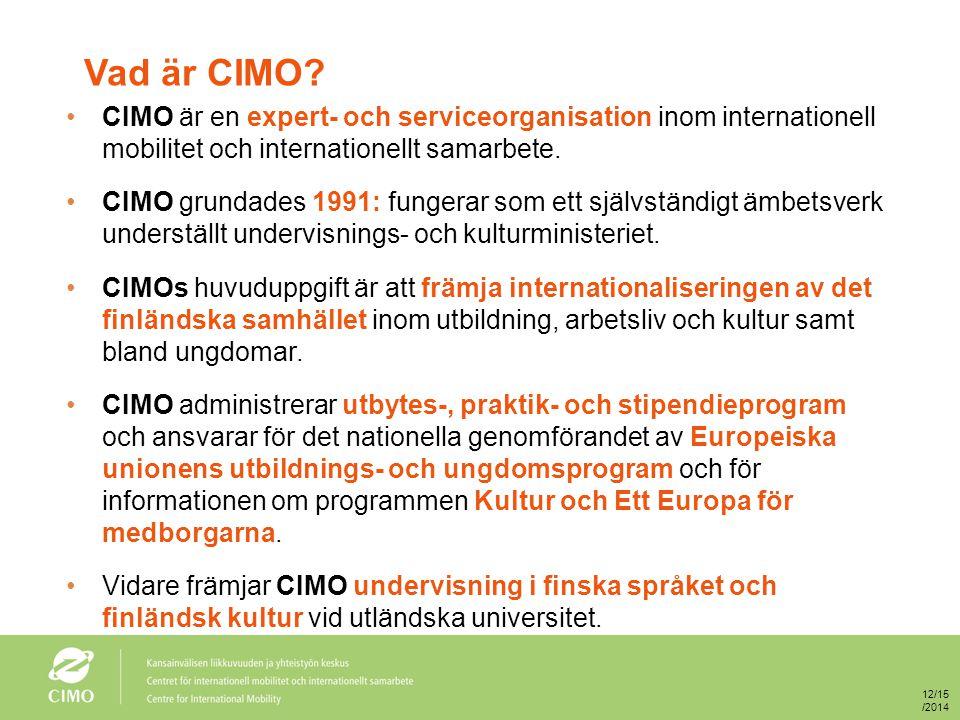 Vad är CIMO? CIMO är en expert- och serviceorganisation inom internationell mobilitet och internationellt samarbete. CIMO grundades 1991: fungerar som