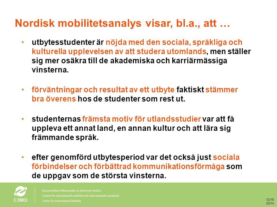 Nordisk mobilitetsanalys visar, bl.a., att … utbytesstudenter är nöjda med den sociala, språkliga och kulturella upplevelsen av att studera utomlands,