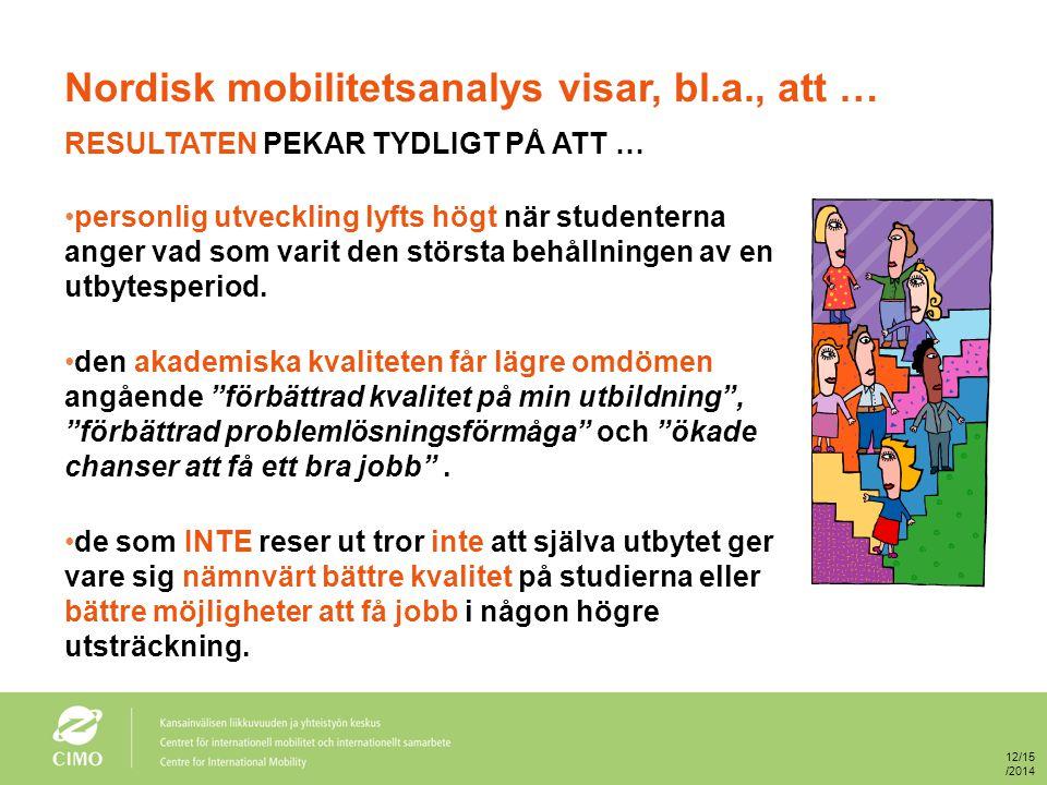 Nordisk mobilitetsanalys visar, bl.a., att … RESULTATEN PEKAR TYDLIGT PÅ ATT … personlig utveckling lyfts högt när studenterna anger vad som varit den