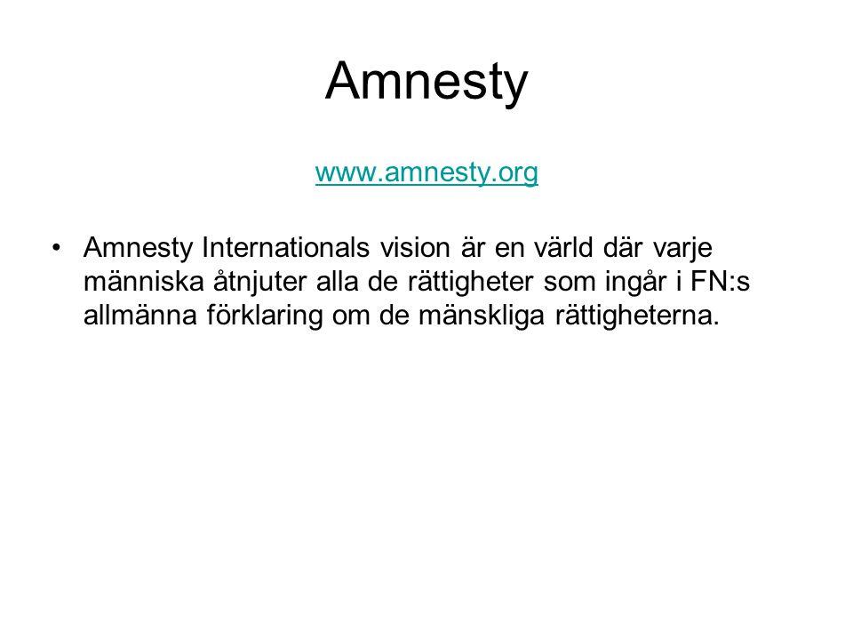 Amnesty www.amnesty.org Amnesty Internationals vision är en värld där varje människa åtnjuter alla de rättigheter som ingår i FN:s allmänna förklaring om de mänskliga rättigheterna.