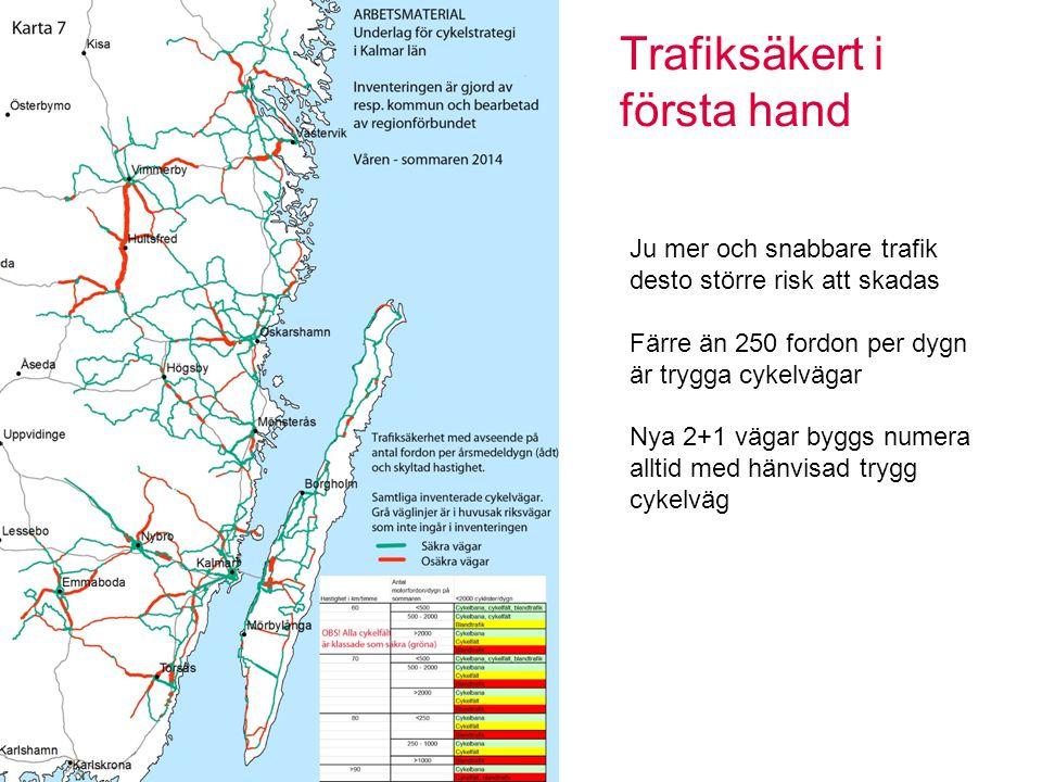 Trafiksäkert i första hand Sidan 11 Ju mer och snabbare trafik desto större risk att skadas Färre än 250 fordon per dygn är trygga cykelvägar Nya 2+1 vägar byggs numera alltid med hänvisad trygg cykelväg