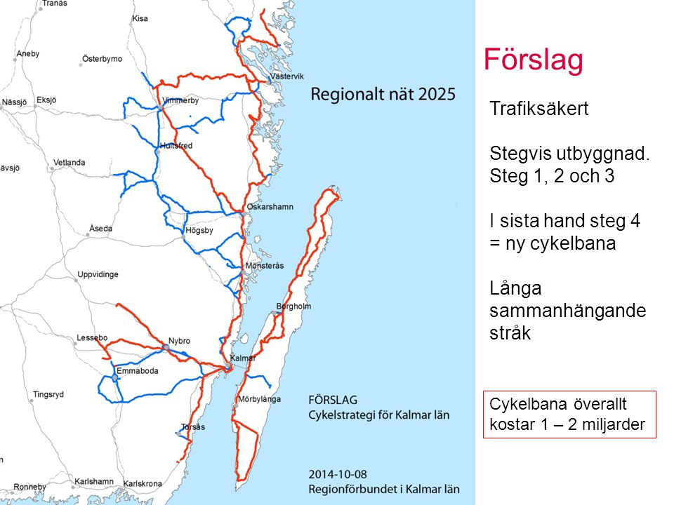 Förslag Sidan 12 Trafiksäkert Stegvis utbyggnad. Steg 1, 2 och 3 I sista hand steg 4 = ny cykelbana Långa sammanhängande stråk Cykelbana överallt kost
