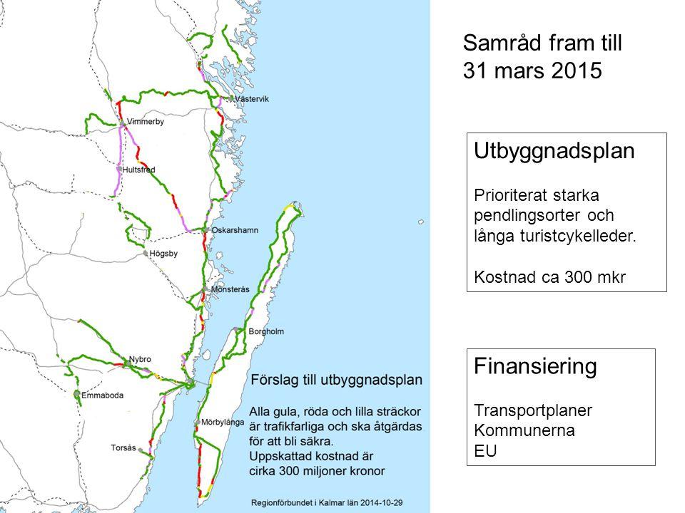 Sidan 13 Samråd fram till 31 mars 2015 Utbyggnadsplan Prioriterat starka pendlingsorter och långa turistcykelleder.