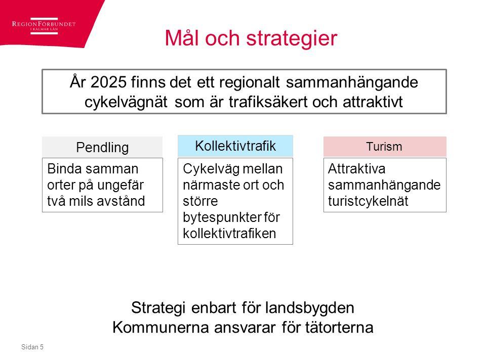 Mål och strategier Sidan 5 År 2025 finns det ett regionalt sammanhängande cykelvägnät som är trafiksäkert och attraktivt Binda samman orter på ungefär