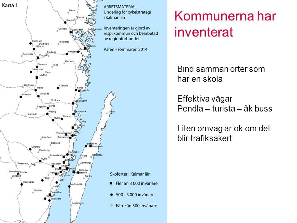 Kommunerna har inventerat Bind samman orter som har en skola Effektiva vägar Pendla – turista – åk buss Liten omväg är ok om det blir trafiksäkert