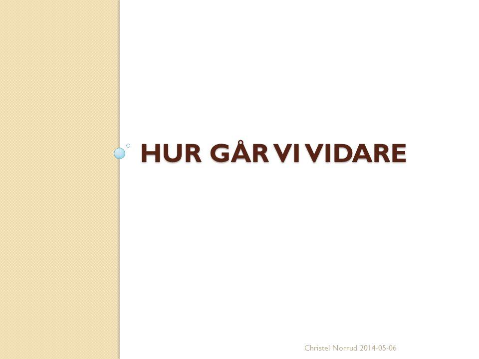 HUR GÅR VI VIDARE Christel Norrud 2014-05-06