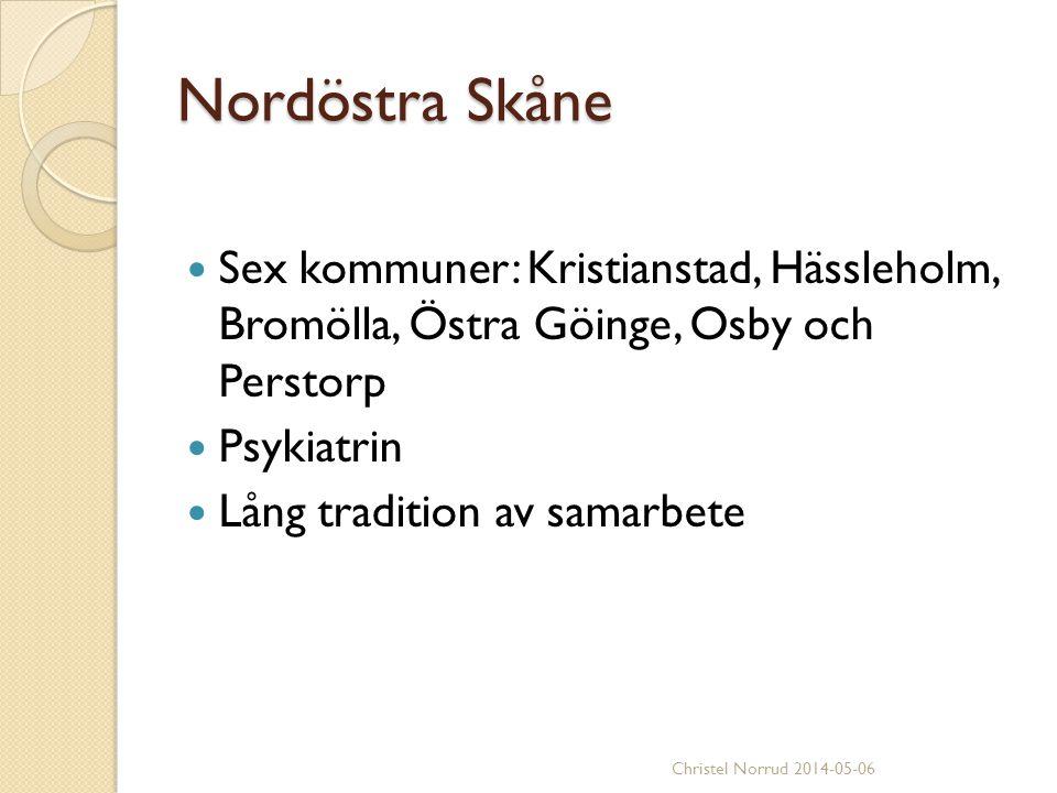 Nordöstra Skåne Sex kommuner: Kristianstad, Hässleholm, Bromölla, Östra Göinge, Osby och Perstorp Psykiatrin Lång tradition av samarbete Christel Norr