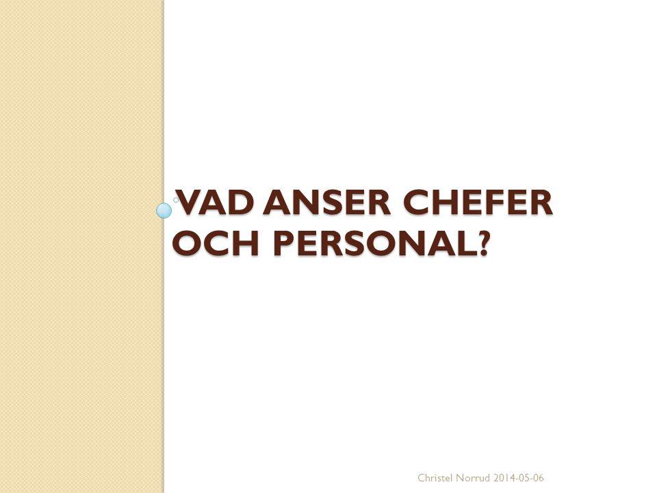 VAD ANSER CHEFER OCH PERSONAL? VAD ANSER CHEFER OCH PERSONAL? Christel Norrud 2014-05-06