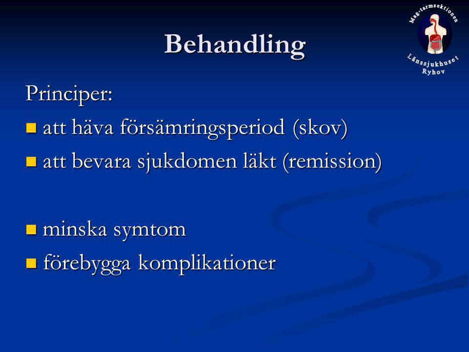 Behandling Principer: att häva försämringsperiod (skov) att häva försämringsperiod (skov) att bevara sjukdomen läkt (remission) att bevara sjukdomen l