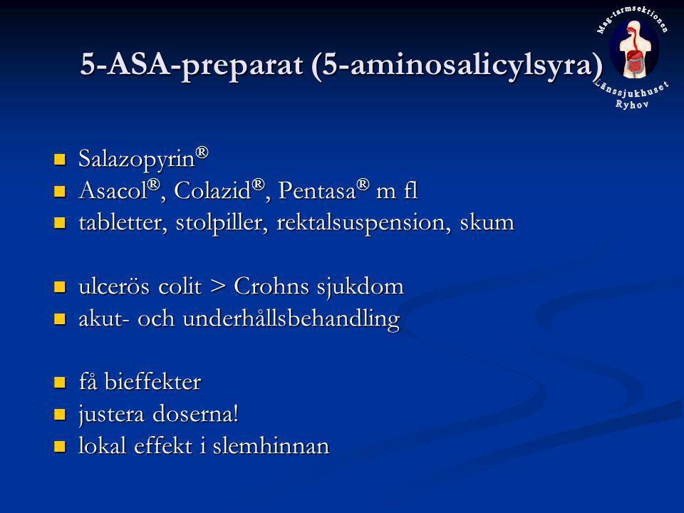 5-ASA-preparat (5-aminosalicylsyra) Salazopyrin ® Salazopyrin ® Asacol ®, Colazid ®, Pentasa ® m fl Asacol ®, Colazid ®, Pentasa ® m fl tabletter, sto