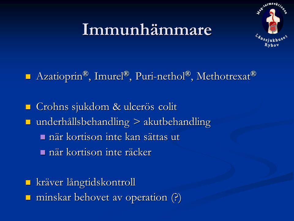 Immunhämmare Azatioprin ®, Imurel ®, Puri-nethol ®, Methotrexat ® Azatioprin ®, Imurel ®, Puri-nethol ®, Methotrexat ® Crohns sjukdom & ulcerös colit