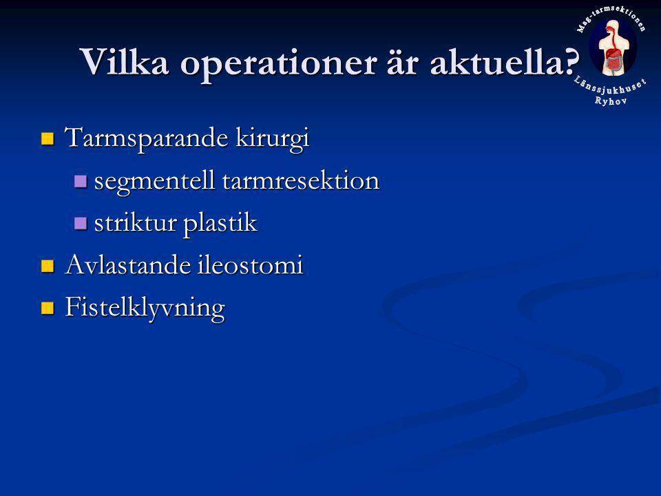 Vilka operationer är aktuella? Tarmsparande kirurgi Tarmsparande kirurgi segmentell tarmresektion segmentell tarmresektion striktur plastik striktur p
