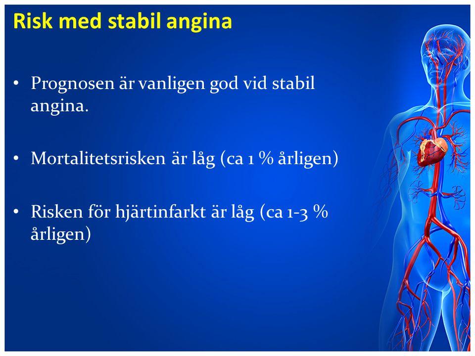 Risk med stabil angina Prognosen är vanligen god vid stabil angina. Mortalitetsrisken är låg (ca 1 % årligen) Risken för hjärtinfarkt är låg (ca 1-3 %