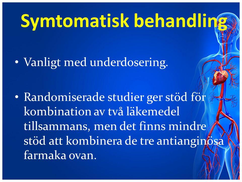 Symtomatisk behandling Vanligt med underdosering. Randomiserade studier ger stöd för kombination av två läkemedel tillsammans, men det finns mindre st