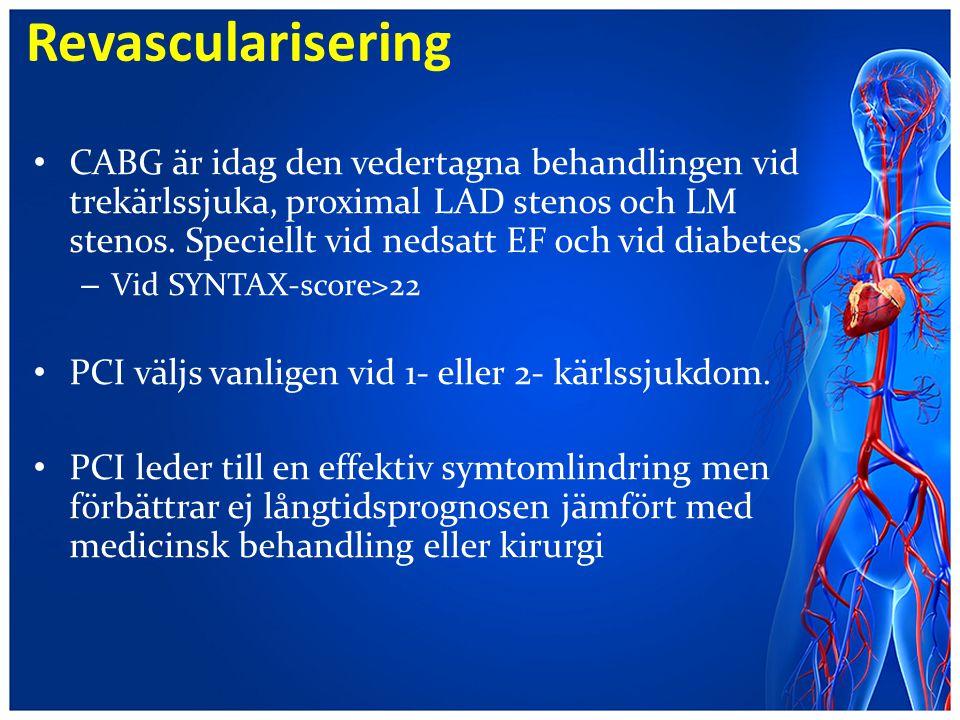 Revascularisering CABG är idag den vedertagna behandlingen vid trekärlssjuka, proximal LAD stenos och LM stenos. Speciellt vid nedsatt EF och vid diab