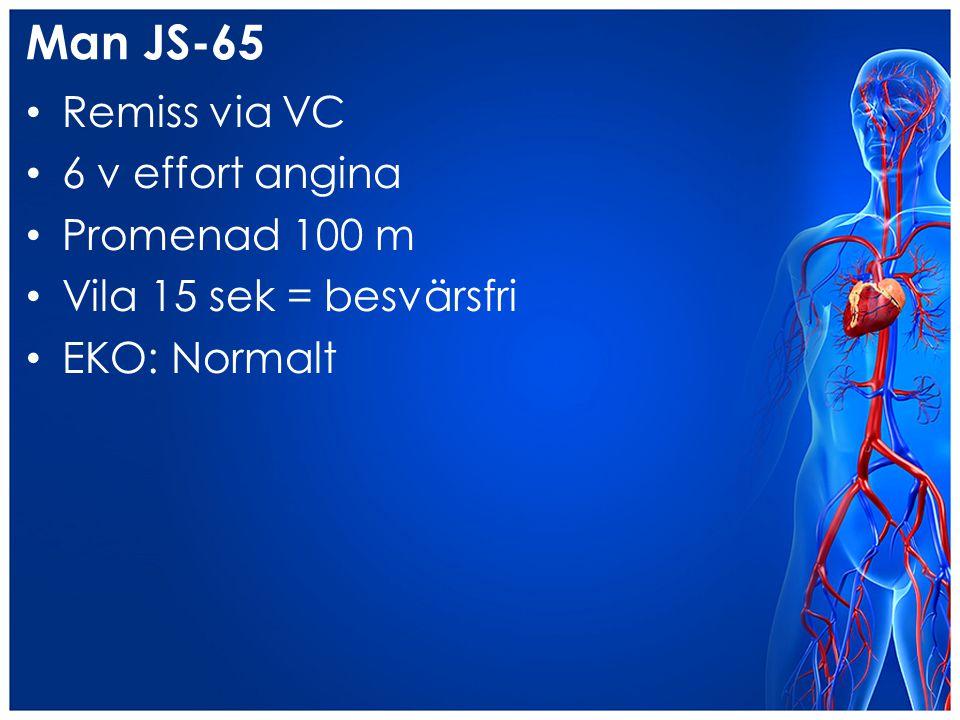 Man JS-65 Remiss via VC 6 v effort angina Promenad 100 m Vila 15 sek = besvärsfri EKO: Normalt