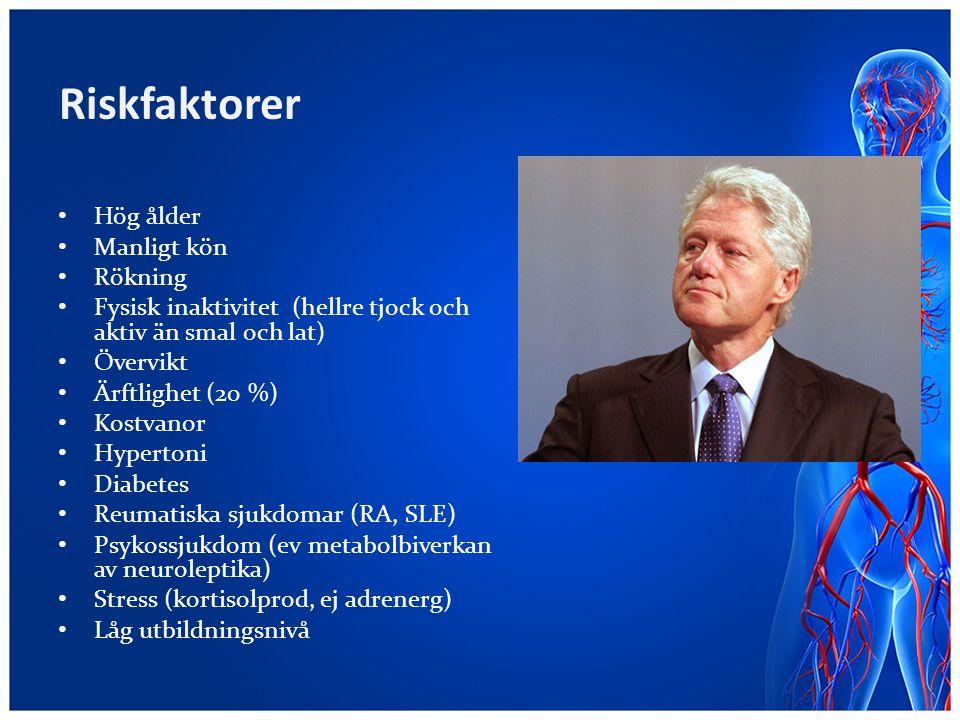 Riskfaktorer Hög ålder Manligt kön Rökning Fysisk inaktivitet (hellre tjock och aktiv än smal och lat) Övervikt Ärftlighet (20 %) Kostvanor Hypertoni