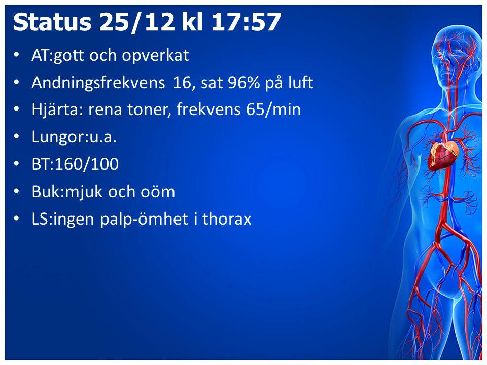 Status 25/12 kl 17:57 AT:gott och opverkat Andningsfrekvens 16, sat 96% på luft Hjärta: rena toner, frekvens 65/min Lungor:u.a. BT:160/100 Buk:mjuk oc