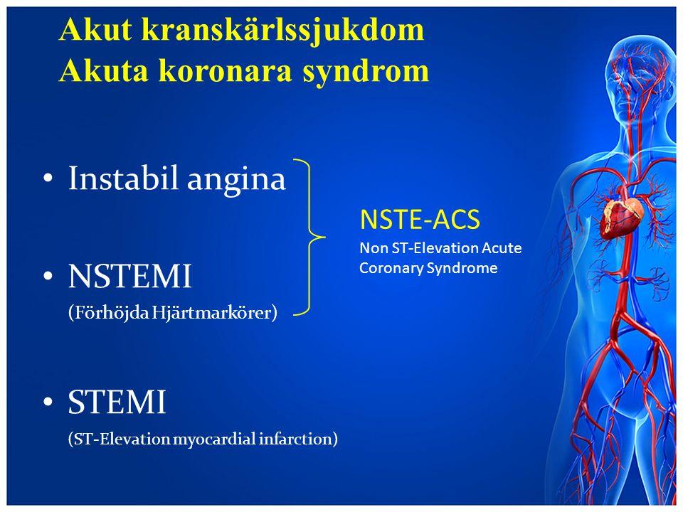 Akut kranskärlssjukdom Akuta koronara syndrom Instabil angina NSTEMI (Förhöjda Hjärtmarkörer) STEMI (ST-Elevation myocardial infarction) NSTE-ACS Non