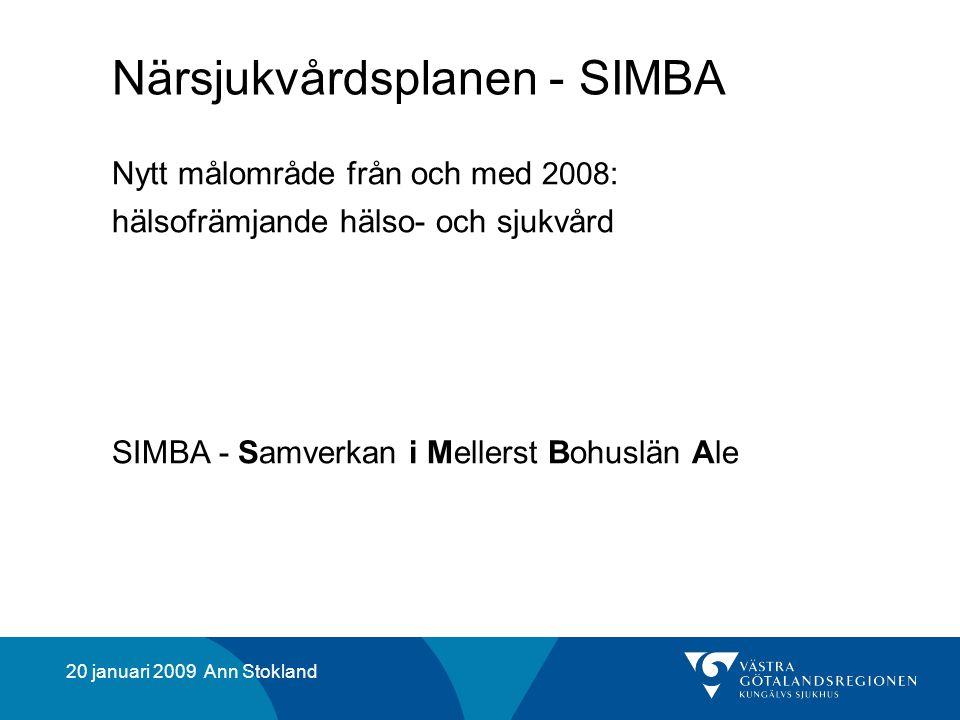20 januari 2009 Ann Stokland Närsjukvårdsplanen - SIMBA Nytt målområde från och med 2008 : hälsofrämjande hälso- och sjukvård SIMBA - Samverkan i Mellerst Bohuslän Ale