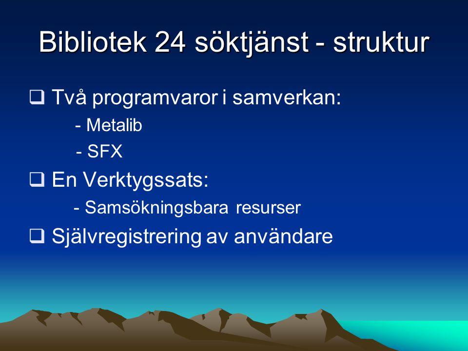 Bibliotek 24 söktjänst - struktur  Två programvaror i samverkan: - Metalib - SFX  En Verktygssats: - Samsökningsbara resurser  Självregistrering av