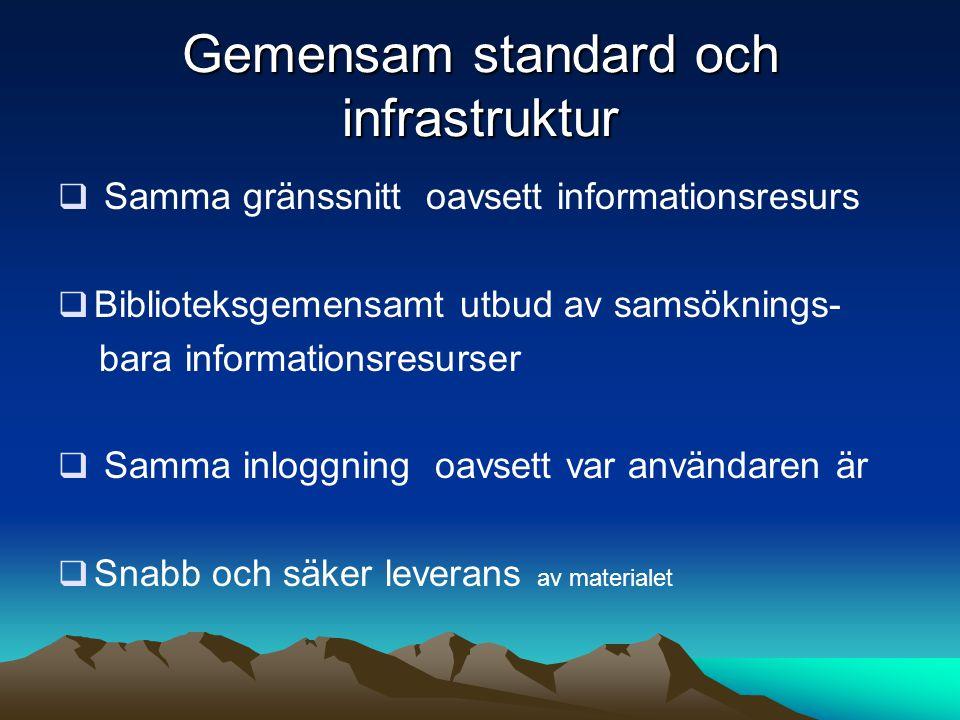 Gemensam standard och infrastruktur  Samma gränssnitt oavsett informationsresurs  Biblioteksgemensamt utbud av samsöknings- bara informationsresurse