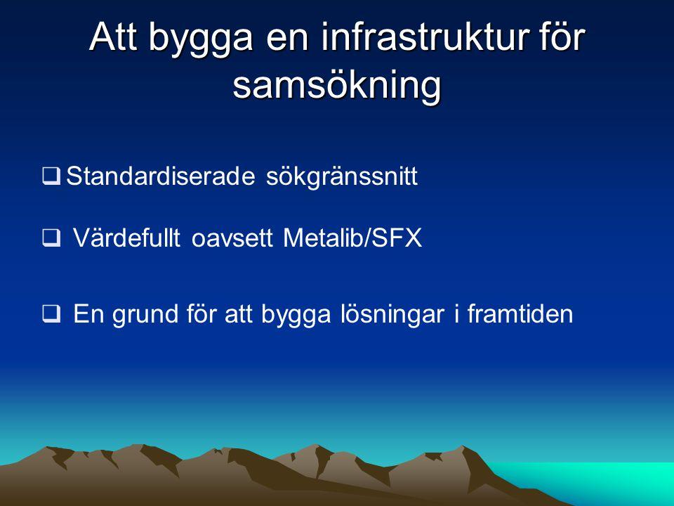 Att bygga en infrastruktur för samsökning  Standardiserade sökgränssnitt  Värdefullt oavsett Metalib/SFX  En grund för att bygga lösningar i framti