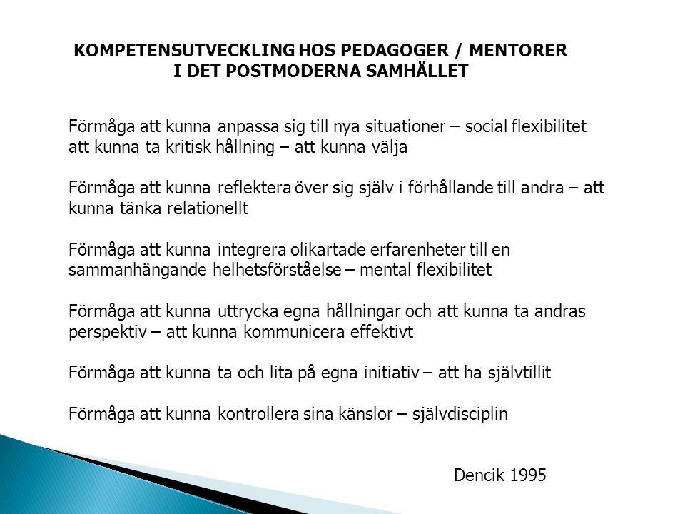 KOMPETENSUTVECKLING HOS PEDAGOGER / MENTORER I DET POSTMODERNA SAMHÄLLET Förmåga att kunna anpassa sig till nya situationer – social flexibilitet att