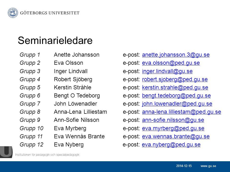 www.gu.se Seminarieledare Grupp 1 Anette Johanssone-post: anette.johansson.3@gu.seanette.johansson.3@gu.se Grupp 2 Eva Olssone-post: eva.olsson@ped.gu