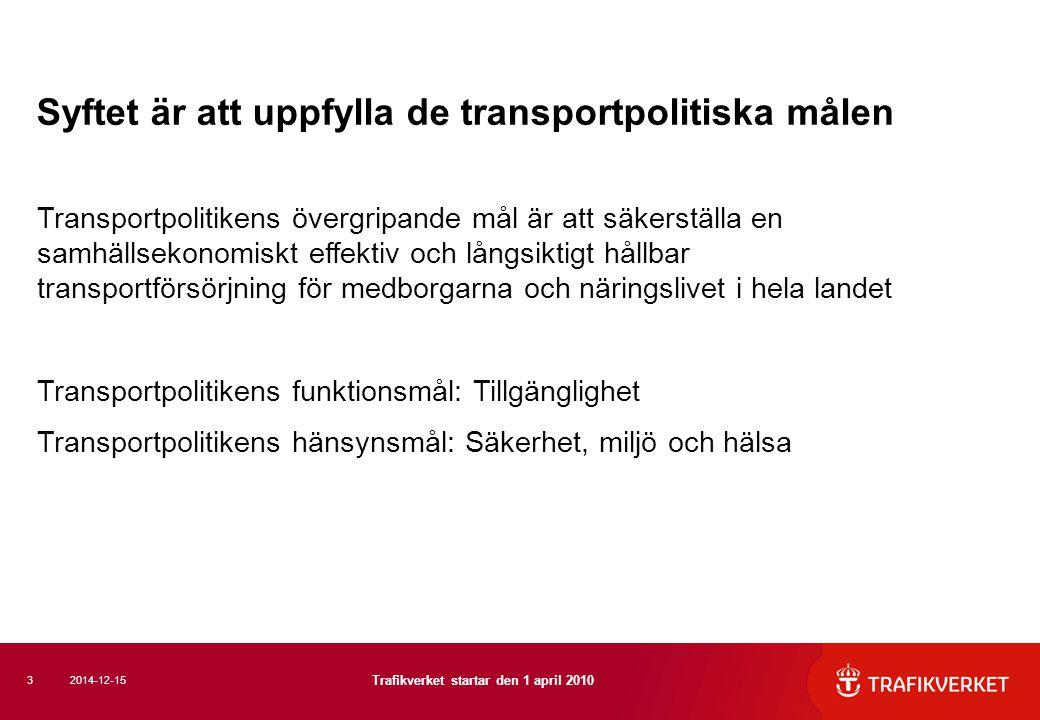 Syftet är att uppfylla de transportpolitiska målen Transportpolitikens övergripande mål är att säkerställa en samhällsekonomiskt effektiv och långsikt