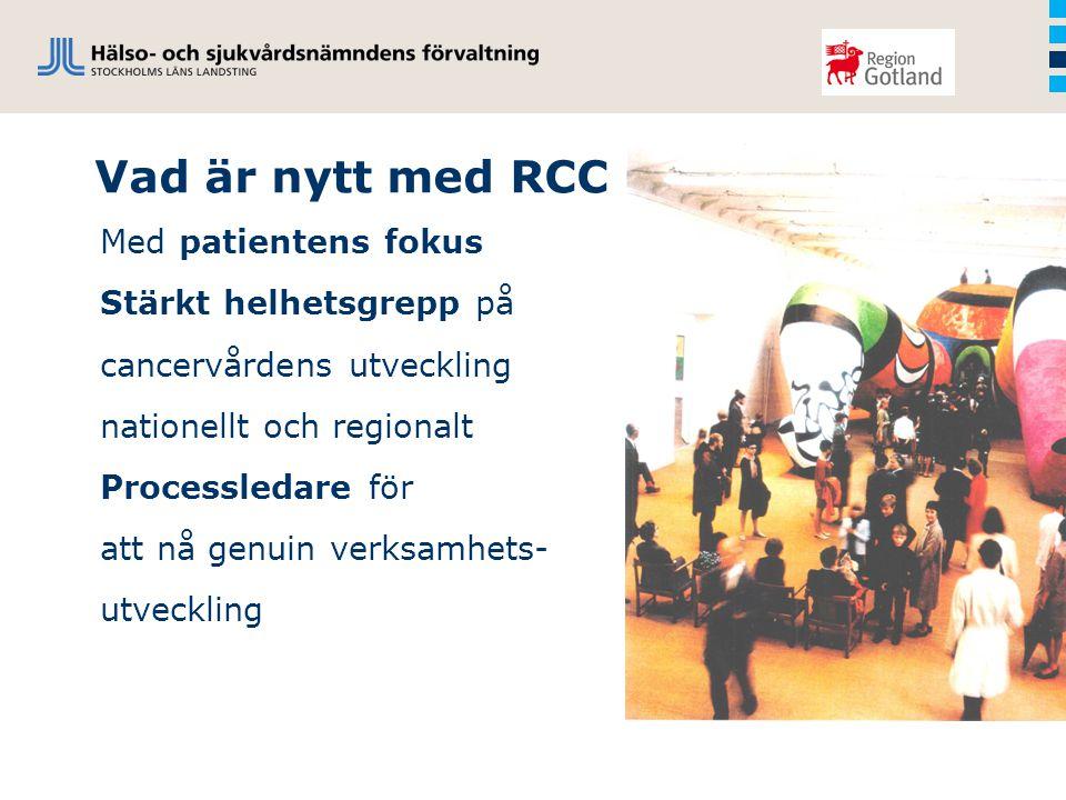 Vad är nytt med RCC Med patientens fokus Stärkt helhetsgrepp på cancervårdens utveckling nationellt och regionalt Processledare för att nå genuin verksamhets- utveckling