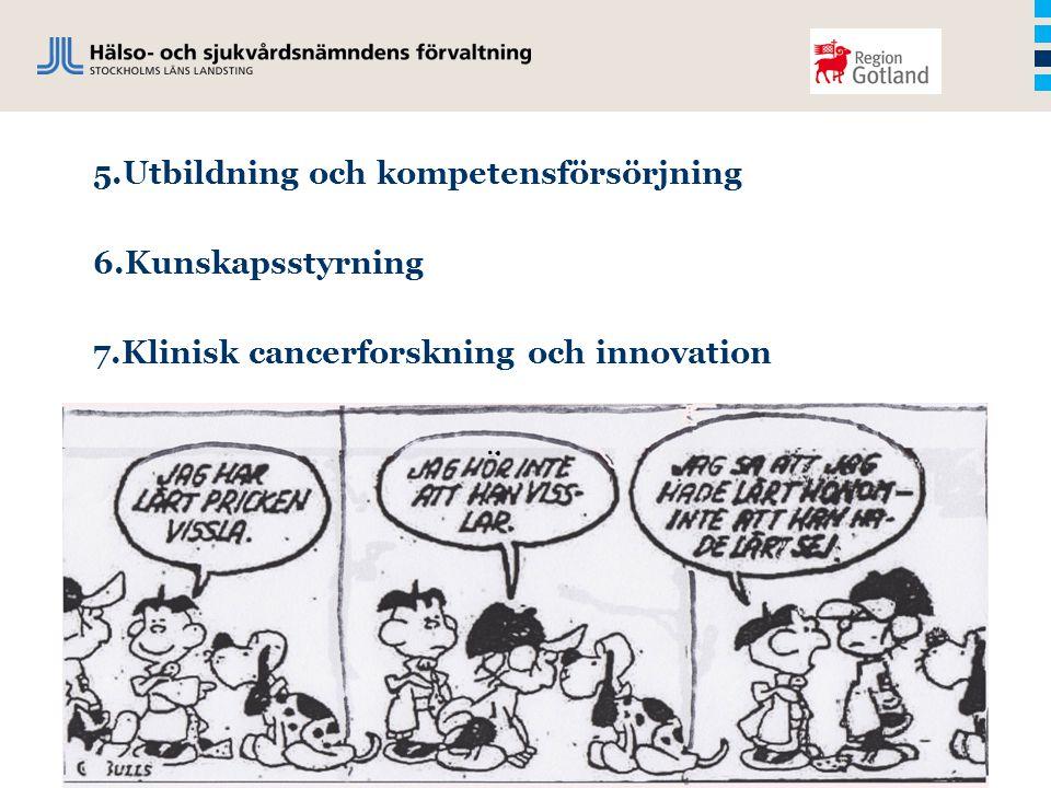 5.Utbildning och kompetensförsörjning 6.Kunskapsstyrning 7.Klinisk cancerforskning och innovation
