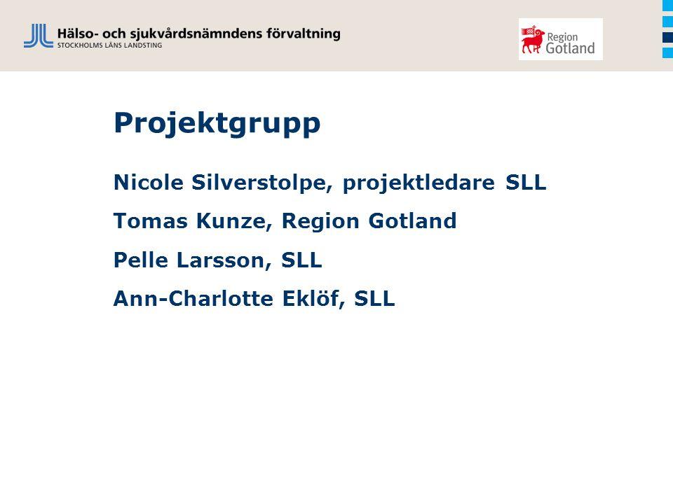 Projektgrupp Nicole Silverstolpe, projektledare SLL Tomas Kunze, Region Gotland Pelle Larsson, SLL Ann-Charlotte Eklöf, SLL